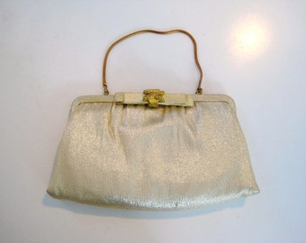 Vintage Gold Evening Bag - 1950s Gold Lame Small Frame Purse with Gold Chain Strap - Mad Men Style with Bow