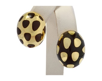 Tiffany & Co. 18kt yellow gold positive negative black jade polka dot earrings FREE SHIPPING