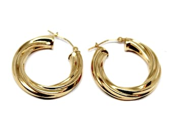 14k Yellow Gold Twisted Hoops Hollow
