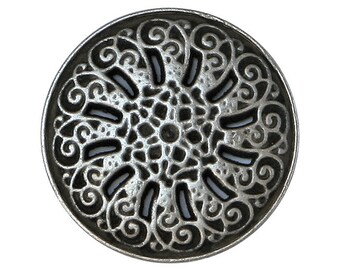 12 Byzantine 7/8 inch ( 23 mm ) Metal Buttons Silver Color