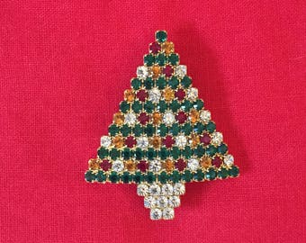 Multi Colored Rhinestone Christmas Tree Brooch Pin Prong Set Gold Toned Metal Vintage Holiday Collectable Jewelry