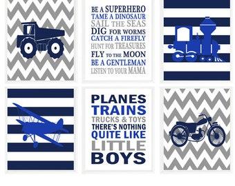 Vehicle Nursery Art, Baby Boy Nursery, Planes Trains Trucks and Toys, Boy Rules, Boy Room Decor, Royal Blue, Navy Blue, Gray,  Boy Wall Art