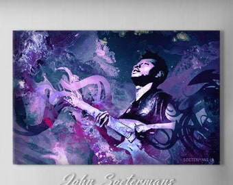 Cognitive Contortions, Portrait of Guitar Player Tosin Abasi from Animals as Leaders ,Abstract Acrylic Painting, By John Soetermans