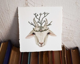 Goat Spirit  - Original Watercolor Illustration - By Tales Of Lichen