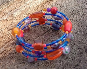Memory wire bracelet, Boho bracelet, orange and purple bracelet, bright bracelet, fun bracelet, gift for her, womens wear, colourful gift.