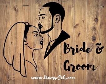 Black Bride and Groom SVG
