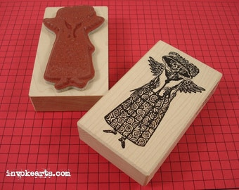 Catrina Doll Stamp / Invoke Arts Collage Rubber Stamps