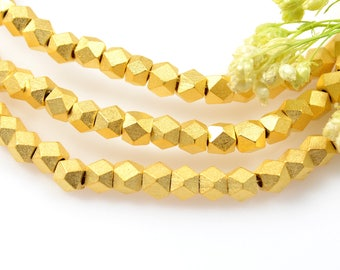 Matte Gold Beads, 3.5mm, Diamond Cut Beads, Tarnish Resistant Beads, Solid Brass Beads, 1.8mm Hole