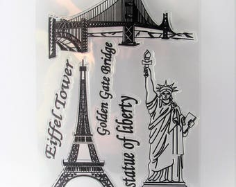 Clear stamps - Paris - Eiffel tower - Golden gate bridge - Statue of liberty - San Fransisco - travel - 6 stamps - bullet journal - bujo