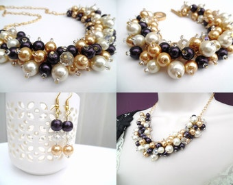 Pearl Beaded Jewelry Set, Aubergine Ivory and Champagne Gold Necklace Bracelet and Earrings, Cluster Jewelry, Wedding Sets Bridesmaids Gifts