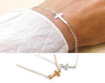 Sterling Silver Sideways Cross Bracelet, Horizontal Tiny Cross Bracelet, Tiny Cross Bracelet, Confirmation Gift, Dainty Cross Bracelet