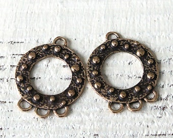 Bronze Earring Findings - 3 Hole Chandelier - Earring Parts - 3 hole connector Beads For Jewelry Making - Made In Thailand - 1 Pair