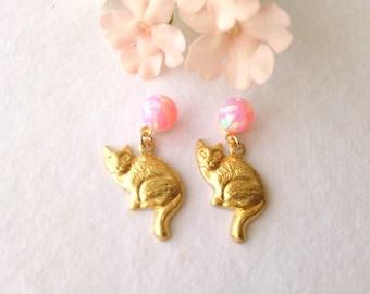 Pink Opal stone earrings sakura with cat brass raw needles titanium hypoallergenic