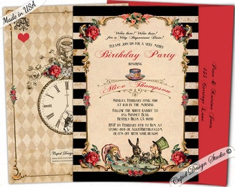 Alice in wonderland birthday invitation, mad hatter tea party invitations alice through the looking glass invites queen of hearts invitation