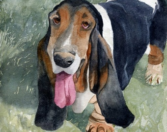Basset Hound Art Print of my watercolor painting Dog Puppy