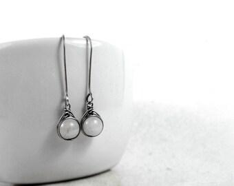 Moonstone Earrings, June Birthstone, Sterling Silver Long Earrings, Gemstone Earrings, Bride Earrings, Gift for Her, Good Fortune Stone