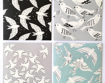 Gift set of Four Bird print greetings cards / Bird cards / For the bird lover / Gift for her