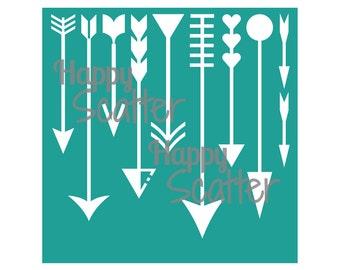 "Arrows Stencil, Which Way Arrows 6x6"" Stencil, 6x6 Stencil, Mixed Media Stencil, Scrapbooking Stencil, Fabric Stencil, Cardmaking Stencil"