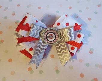 Ohio State hairbow, Ohio State headband, Ohio State hair clip, Ohio State Football, Ohio State football souvenir, Ohio State fan gifts