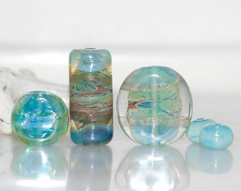 Mixed Soft Green Orphans Lampwork Glass Bead Set