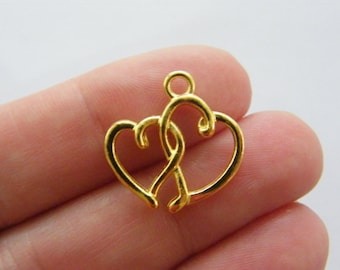 10 Heart charms gold tone GC72