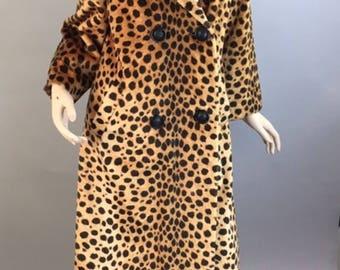 Leopard print Coat// Vintage 60s Faux Fur Leopard Coat// Vintage Faux Fur Coat (F1)
