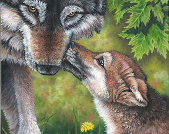 Wolf and pup-Print