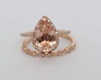 Pear Halo Engagement Ring, Pear Morganite, Morganite Engagement Ring Set, Morganite Ring, Rose Gold Morganite Ring Set, Morganite Rose Gold