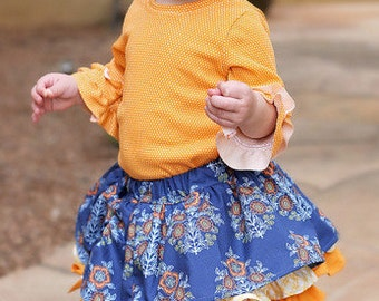Baby Pepper's Peekaboo Ruffle Skirt. PDF sewing pattern for baby sizes NB-24 months