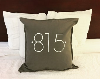 area code hand painted throw pillow - housewarming/new home/graduation/anniversary/christmas/throw pillow/personalized home decor