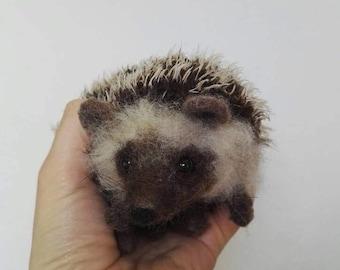 needle felted Pygmy/algerian/albino hedgehog (soft posable pet portrait)