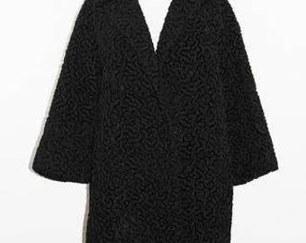 VINTAGE - 60's Black Curly Lambs Wool Coat