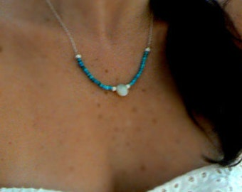 Australian opal turquoise necklace- Tibetan turquoise opal gemstone necklace-Sterling silver blue white stone pendant- Women jewelry gift