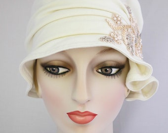 Vanilla Cream Flapper Cloche with Beaded Applique // Handmade Hat, Fabric hat