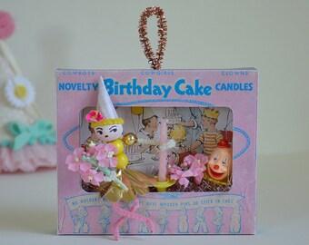 Birthday Shadow Box / Diorama/ Spun Cotton Girl / Retro Style