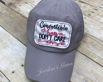 Convertible Hair Don't Care Embroidered Grey and White Chevron Raggy Patch Solid Grey Baseball Cap / Hat
