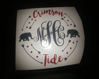 Crimson Tide Monogram Decal | University of Alabama Decal | Alabama Football | Vinyl Decal | Roll Tide