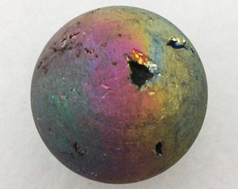 Titanium Rainbow Aura Quartz Crystal 30mm Sphere with Druzy - Excellent for Shamans, Soul Mates, and Tax Situations