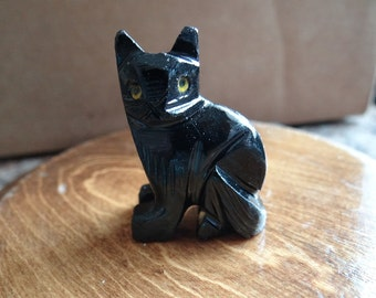 Hand Carved *CAT* Black Onyx Animal Spirit Totem for Spiritual Jewelry or Crafts