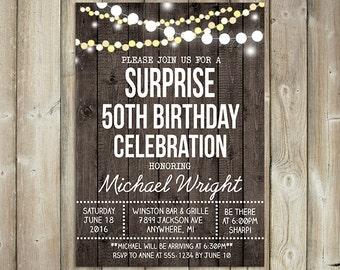 RUSTIC SURPRISE BIRTHDAY Invitation - Adult Birthday Party  - 20th, 30th, 40th, 50th, 60th, 70th, 80th Bday Invite - String Lights- Digital