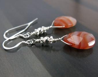 EXOTIC HONEY Red Agate Earrings, Banded Agate Gemstone Earrings, Natural Stone Jewelry, Agate Jewelry, Sterling Silver Teardrop Earrings