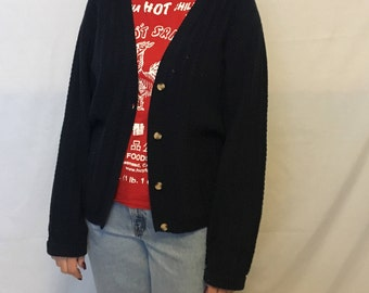 90's baggy sweater/basic navy blue cardigan/normcore/long sleeve button down cardigan