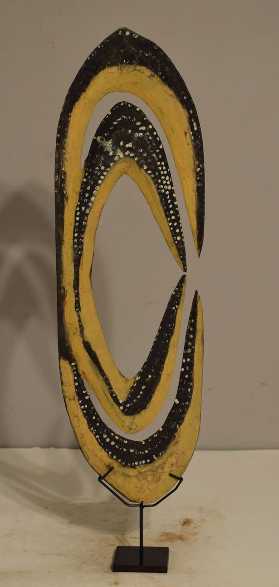 "Papua New Guinea Figure Water Spirit Cult Hook Initation Spirit Hook 25"""