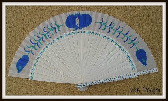 Traditional Granada Pomegranate Design SIZE OPTIONS Hand Held Folding Fan From Spain