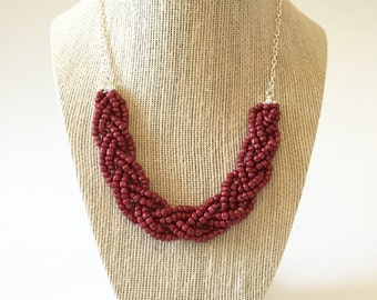 Burgundy Beaded Braid Necklace