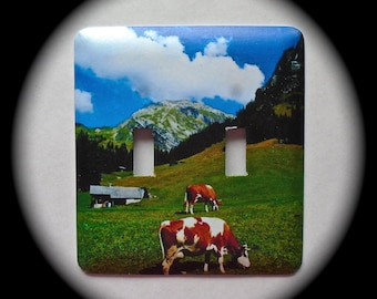 METAL Decorative Double Switch Plate ~ Cows, Mountain, Outdoors, Light Switchplate, Switch Plate Cover, Home Decor