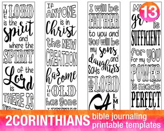 2 CORINTHIANS - 4 Bible journaling printable templates, illustrated christian faith bookmarks, black and white bible verse prayer journal
