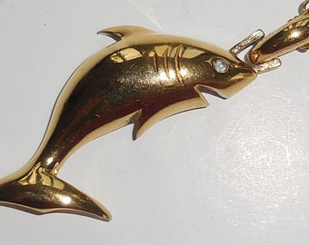 Fantastic SHARK Vintage NECKLACE By D'ORLAN, Mid Century Figural Fish Pendant With Chain, Sea Creature Marine Designer Jewellery, Great Gift