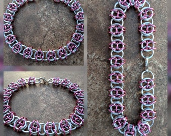 Celtic Visions Bright Silver and Rose Pink Aluminum Chainmaille Bracelet