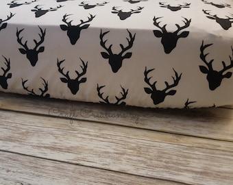 Crib Sheet- Fitted Crib Sheet- Woodland Crib Sheet- Deer Baby Bedding- Rustic Nursery- Woodland Bedding